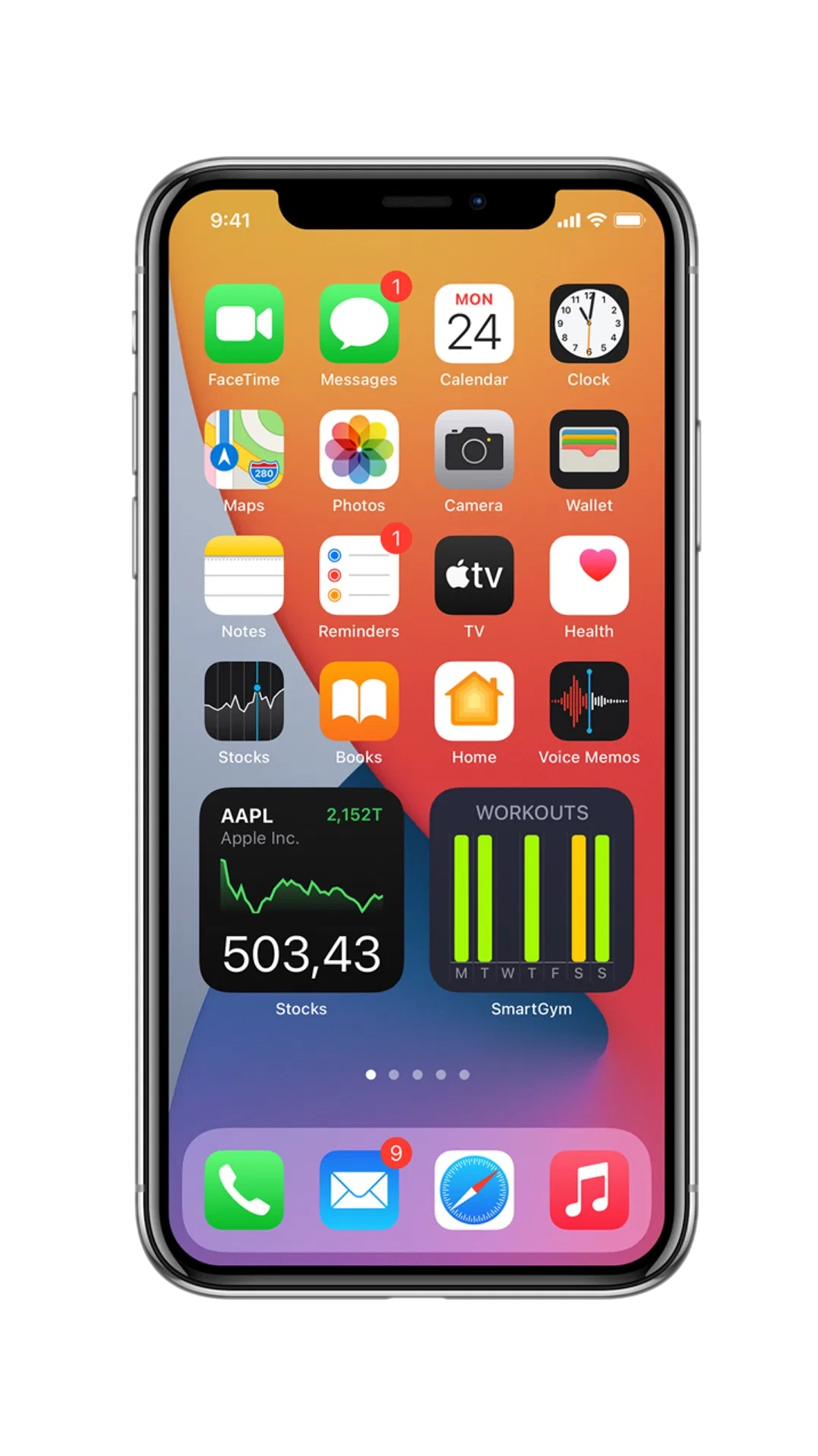 An iPhone X displaying the Home Screen of iOS 14, featuring an arrangement of apps and widgets.